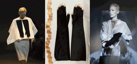 Los locos guantes de Schiaparelli. La actriz y modelo británica Tilda Swinton exhibió estos guantes de Schiaparelli de 1936 en The Impossible Wardrobe, un espectáculo sobre la moda de finales del siglo XIX a mediados del XX, obra del director del Museo Galliera, Olivier Saillard, que tuvo lugar en París