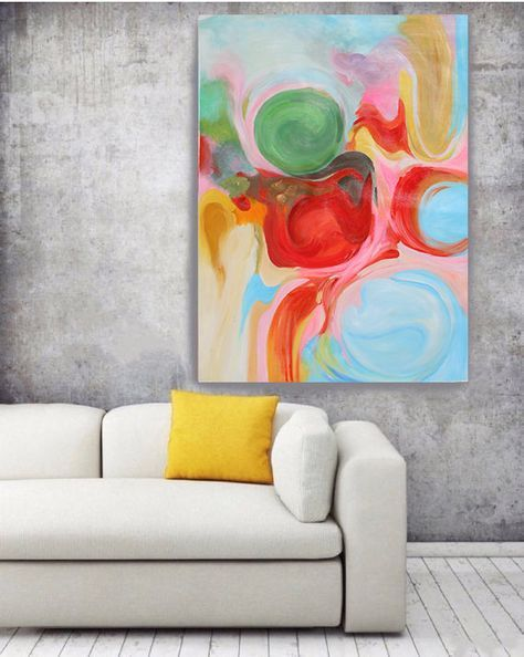 Geometrical abstract art wall decor extra large abstract colorful contemporary canvas art print up to by irena orlov