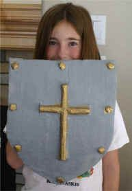 I think cardboard rather than paper mache might be better for 4 and under? Make a Shield of Faith... Other good craft ideas on danillespace