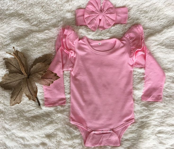 Long Sleeve Flutter Bodysuit   headwrap - Pink