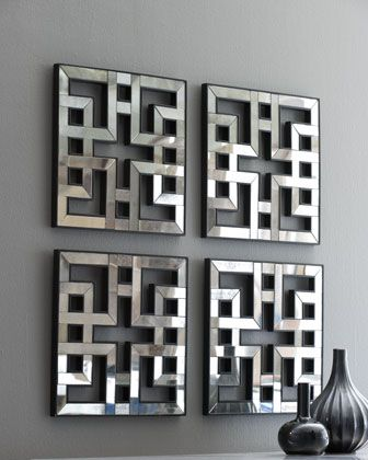 """above new console? Four fretwork mirrors fit together beautifully. Framed in hand-painted wood. Each panel, 17.5""""Sq. $385 Four Fretwork Mirrors - Neiman Marcus"""