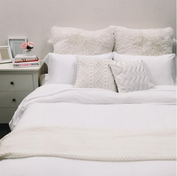 We love the all white bedroom look! Do you? SOPHIE Decorative Pillow, HOFBURG bed frame, AULUM ...