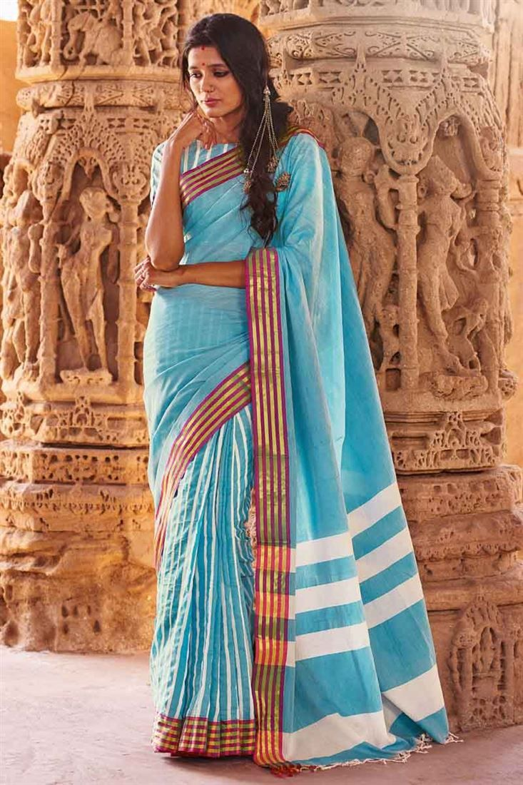 Online Shopping of Sky Blue Printed Party Wear Cotton Saree-Ira from SareesBazaar, leading online ethnic clothing store  offering  latest collection of #sarees, salwar suits, lehengas & kurtis