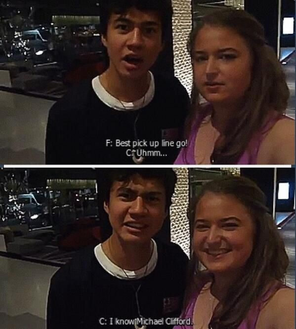 "Calum's best pick up line: ""I know Michael Clifford"" YAAAAAS MICHAEL IS MY FAVORITE!!!"