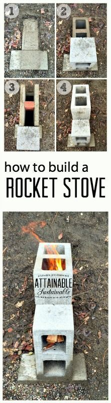 A rocket stove burns so efficiently that it ensures almost complete combustion prior to the flames reaching the cooking surface, so there is virtually no smoke. And they're easy to make! Click through to find out how as part of your emergency preparedness plan in case of a power outage.: