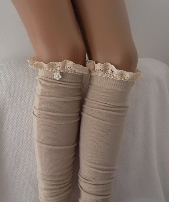 Beige Socks  Boot socks boot cuffs leg warmers by CarnavalBoutique