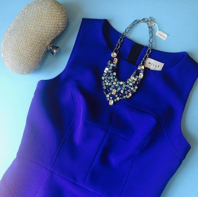 Milly blue dress Dyrberg kern necklace  Golden oval clutch
