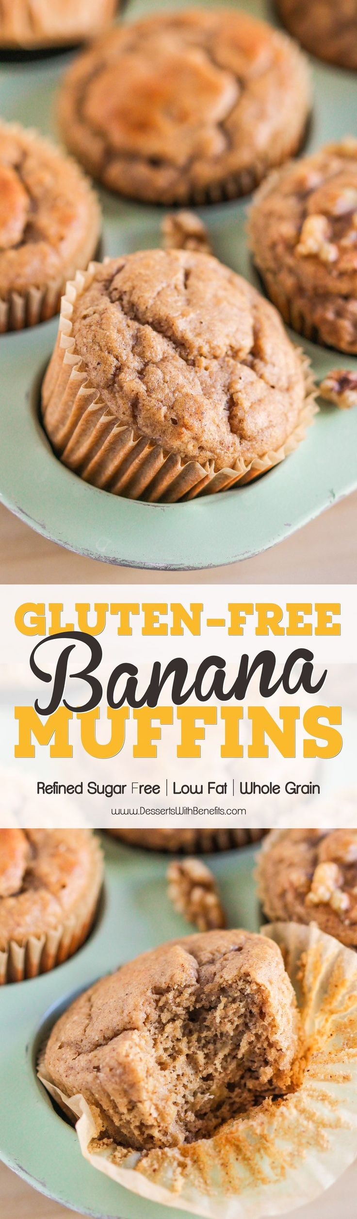 Gluten Free Banana Muffins ~ so fluffy, moist, sweet, and packed with banana bread flavor, you'd never guess that these have NO butter and NO sugar added...low calorie, low fat, refined sugar free, gluten free, AND dairy free! #nosugaradded #sugarfree #glutenfree #lowfat #lowcalorie