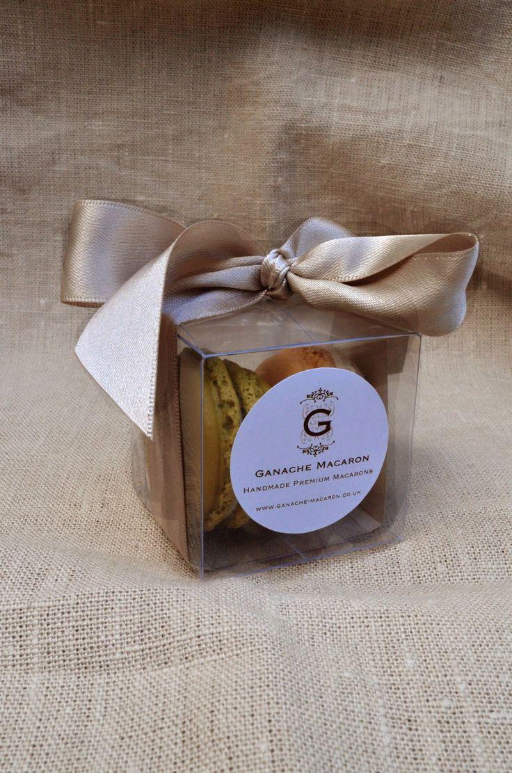 Boxed Macaron Wedding Favour by Ganache Macaron with silver ribbon   Premium Handmade French Macarons in London www.ganache-macaron.co.uk