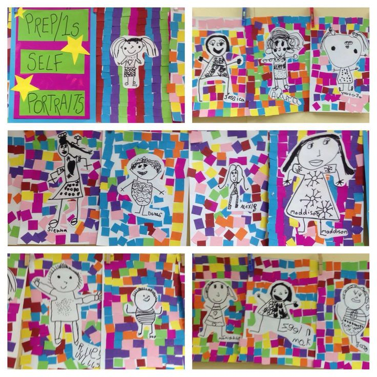 Grade F/1s Self Portraits! Love how bright and colourful these are.