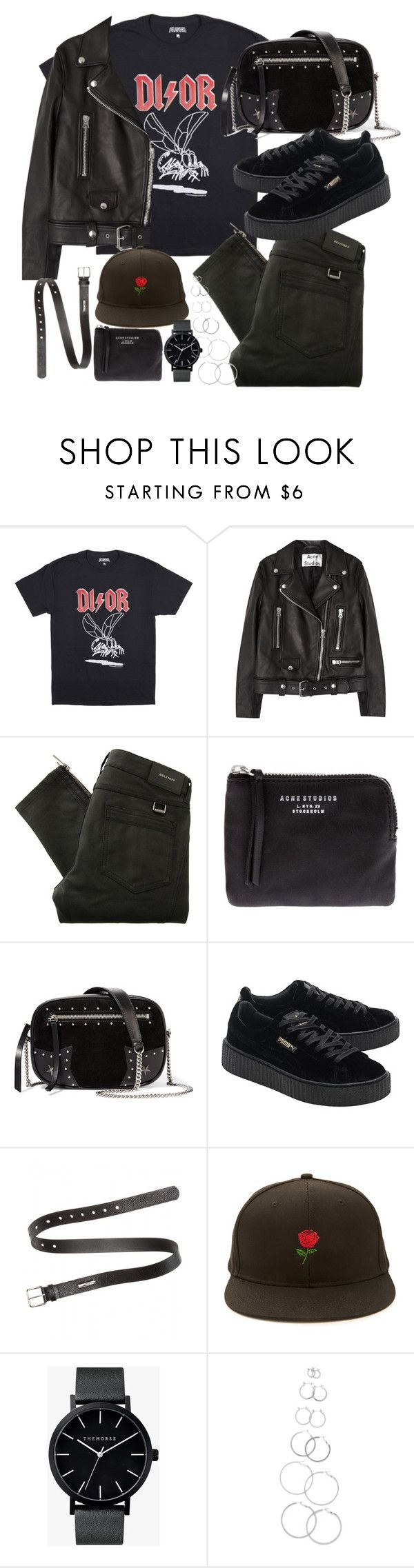 """""""outfit with a dior tee and puma creepers"""" by ferned on Polyvore featuring Acne Studios, Belstaff, Karl Lagerfeld, Puma, Forever 21 and The Horse"""