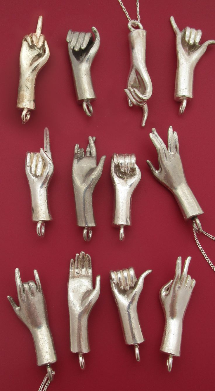 Hand Sign Necklaces Cast from real Barbie hands!