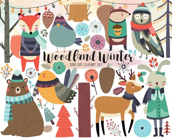Woodland Winter Clipart  Woodland Clipart by KennaSatoDesigns