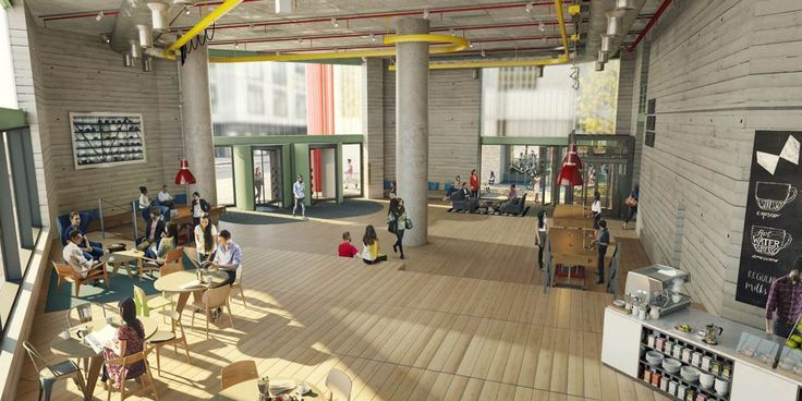 White Collar Factory:Exposed deck, form line, concrete walls, exposed columns, natural raw finishes, station amenities.