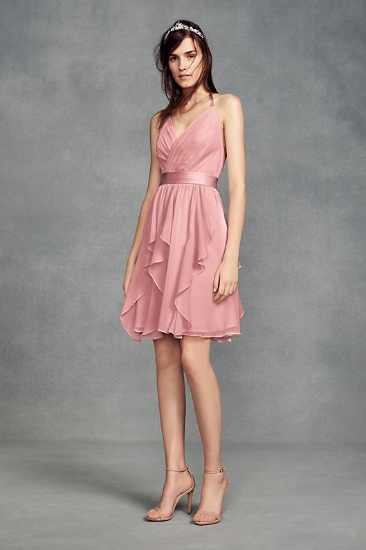 946081c8323 Short Chiffon Bridesmaid Dress with Cascade Skirt Style VW360399 ...