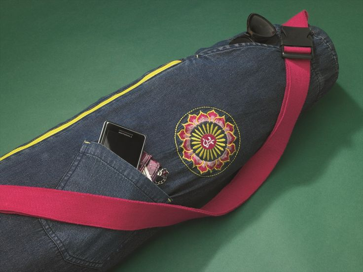 Ava's Yoga Mat Bag Denim This fantastic yoga mat bag is fashionable and functional!  It is fashioned after a ½ pair of jeans and the removable, adjustable strap converts into an exercise strap. It can hold 2 standard mats or one thick foam mat plus there is extra room at the top for a towel or clothing. www.downdogboutique.com