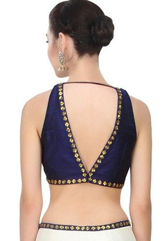 15 Modern V Shaped Blouse Neck Designs At Back And Front Deepa