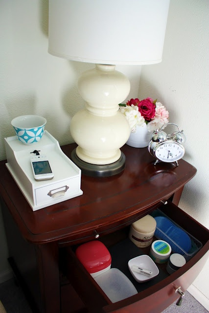 from IHeart Organizing, how to organize your night stand----I need to do this!