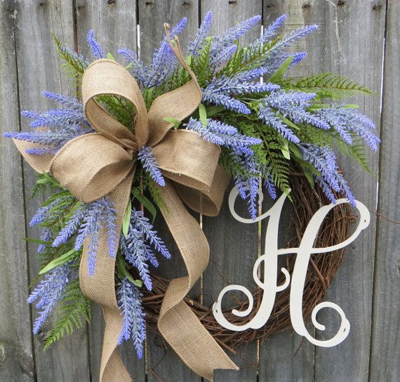Spring Wreath, Lavender Fields Wreath for Spring and Summer, Burlap Wreath, Lavender Herb Wreath, Burlap Monogram Wreath, Lavender Farm                                                                                                                                                                                 More