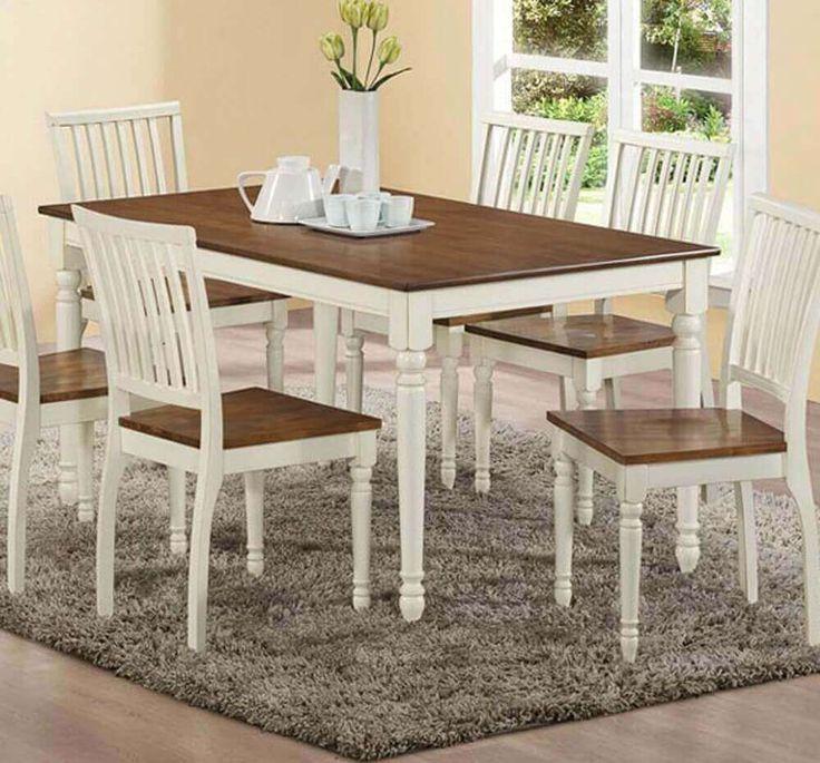 Set Meja Makan Putih Minimalis C-3RV terbuat dari material kayu jati terbaik serta memiliki tampilan menarik sebagai pelengkap interior ruang makan anda.