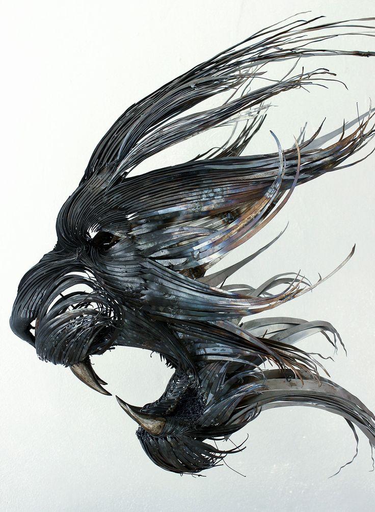 New Hammered Steel Animal Head Sculptures by Selçuk Yılmaz (Colossal)