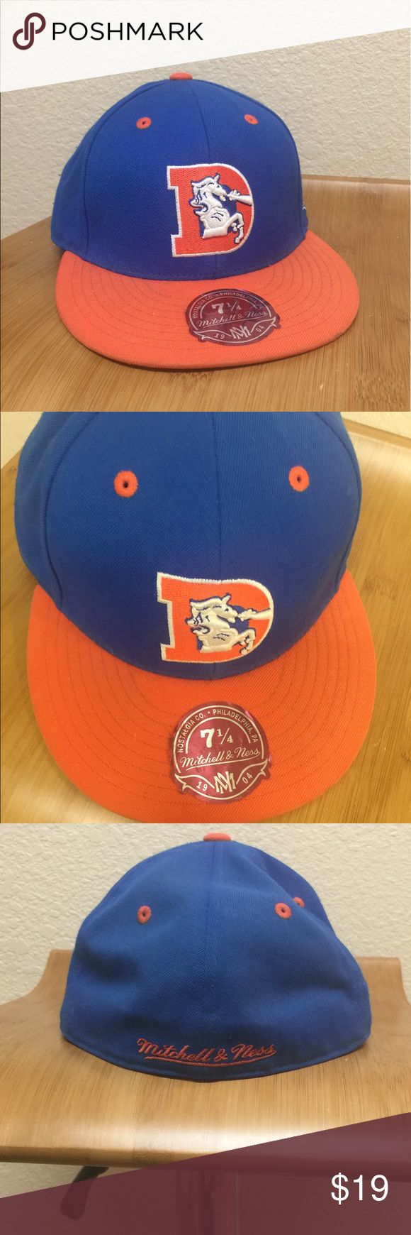 Denver Broncos fitted cap Mitchell and Ness Denver Broncos fitted cap. Vintage collection. Size 7 1/4 Mitchell & Ness Accessories Hats