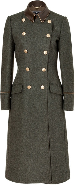 FERRAGAMO Charcoal Doublebreasted Wool Loden Coat with Leather Trim