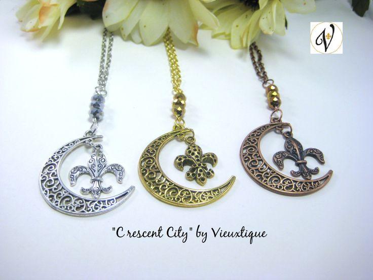 """Vieuxtique Exclusive """"Crescent City"""" Necklace, New Orleans Jewelry, Fleur de lis Jewelry, Fleur de lis Necklace, Louisiana Jewelry by Vieuxtique on Etsy"""