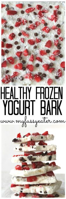 Snack time just got exciting with this low sugar Frozen Yogurt Bark recipe; greek yogurt sweetened with honey & topped with choc chips, strawberries & coconut