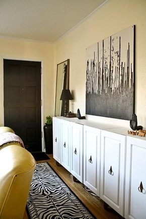 DIY kitchen cabinet to sideboard upcycle/revamp makeover thingy - JEN SELK - IDEA: USE KITCHEN CABINETS, THEN ADD BOOKSHELVES ON TOP- for closed and open storage