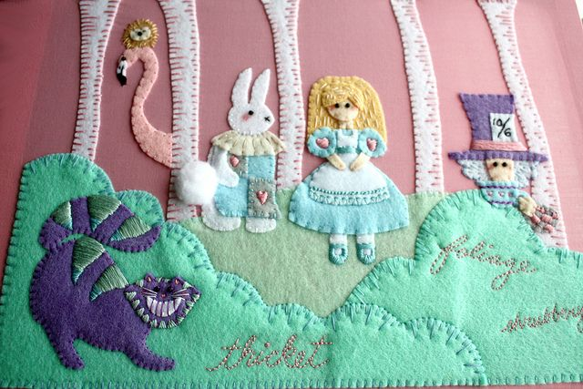 Amazing alice in wonderland embroidery project hoopla Alice and wonderland art projects