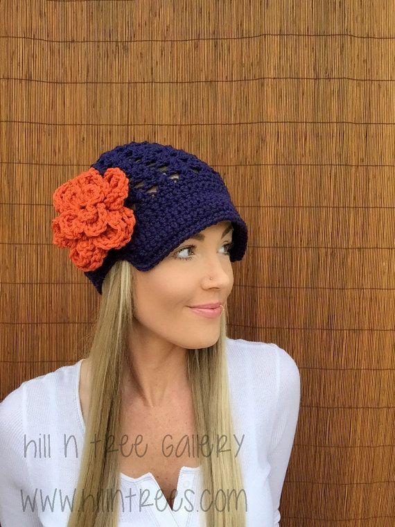 Denver Broncos Navy Blue Cap w/ Visor & Orange by HillnTrees