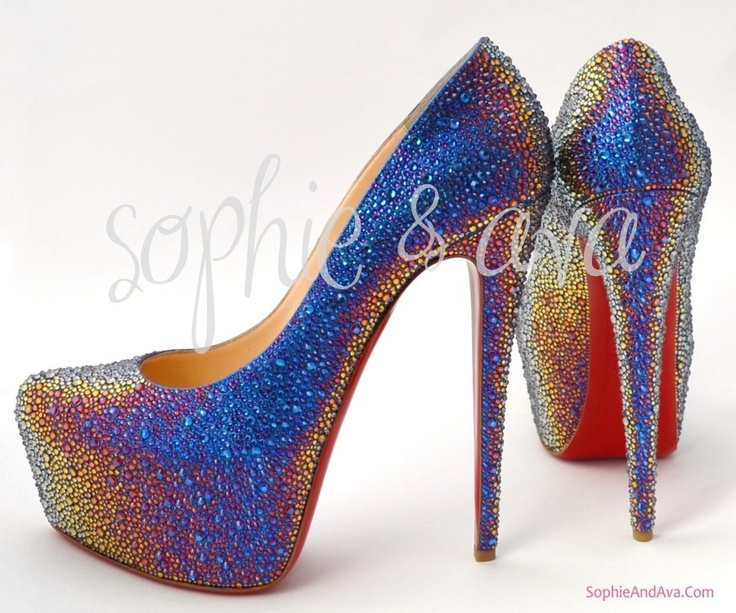 christian louboutin blue crystal shoes