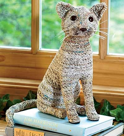Recycled newspaper cat
