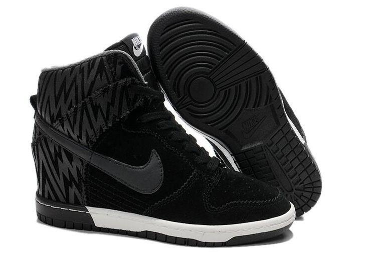 All Black Nike Dunk Sky Hi Wedge Women Suede