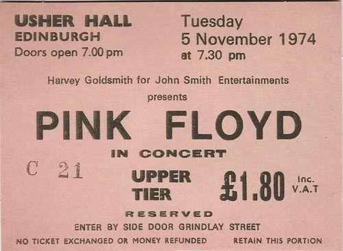 Pink Floyd concert ticket, November, Edinburgh, 1974.  Look at the price .. £1.80!