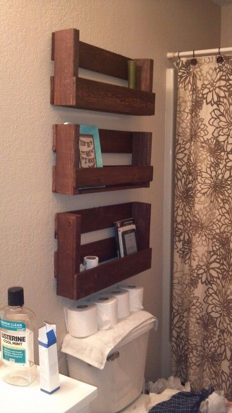 Shelves from pallets! My boyfriend is handy!
