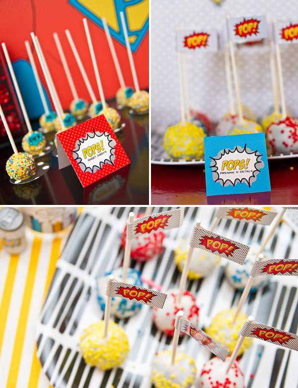 Cupcake Pops for Super Hero PartySuper Heroes Cake, Fun Recipe, Art Parties, Superhero Parties, Cake Pop, Super Heroes Birthday, Parties Treats, Superhero Cake, Superhero Birthday Parties