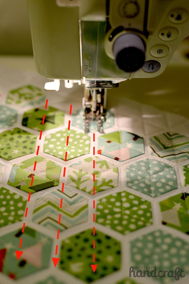 www.modernhandcraft.com Easy Hexagons Tutorial - this is something like English paper piecing, but glued on applique.