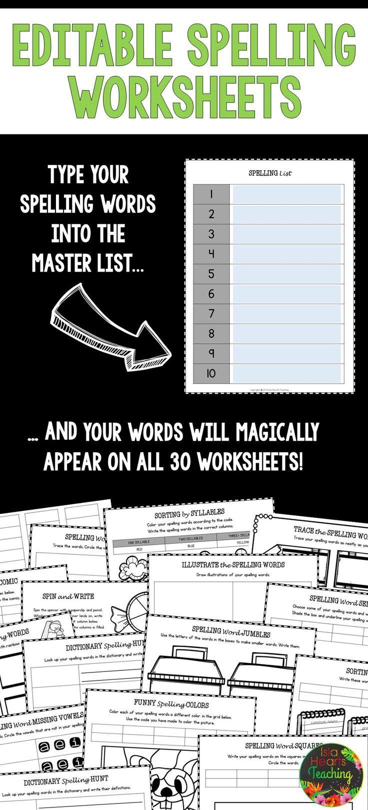 Editable Spelling Worksheets Make Life So Much Easier Islaheartsteaching Spelling Worksheets Spelling Practice Worksheets Spelling Activities [ 1619 x 736 Pixel ]