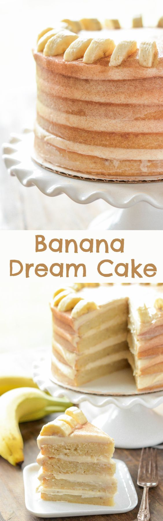 Banana Dream Cake with cinnamon cream cheese frosting!