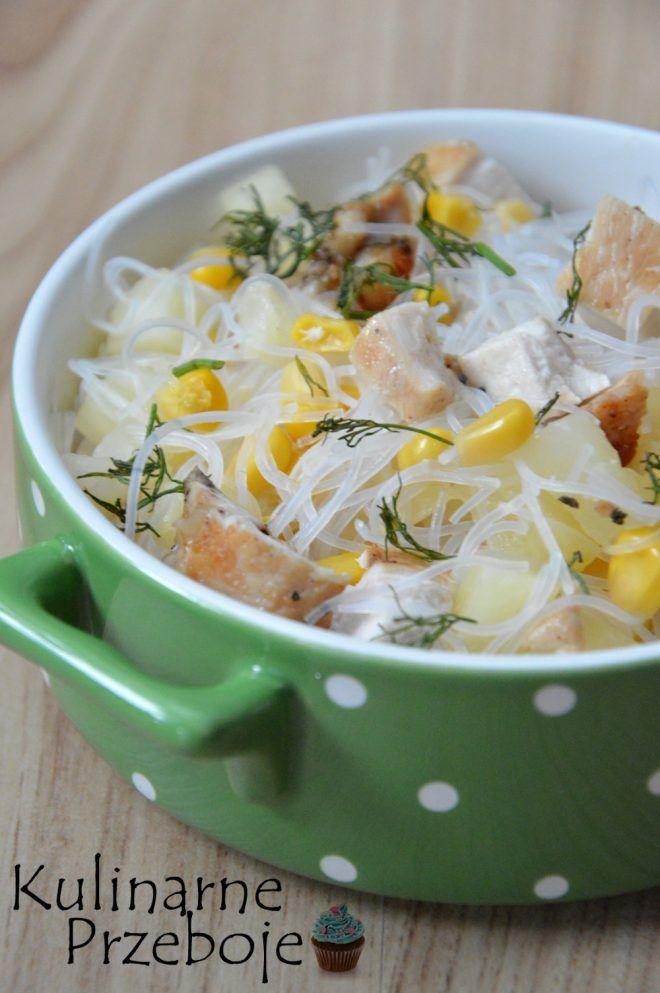 Salatka Z Makaronem Chinskim Kurczakiem I Ananasem Kuchnia Soup