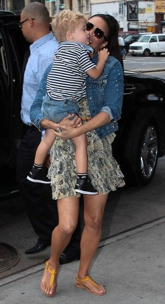 "Paula Patton ""Blurred Lines"" singer Robin Thicke out and about in New York City, New York with his wife actress Paula Patton and their son Julian on July 31, 2013."