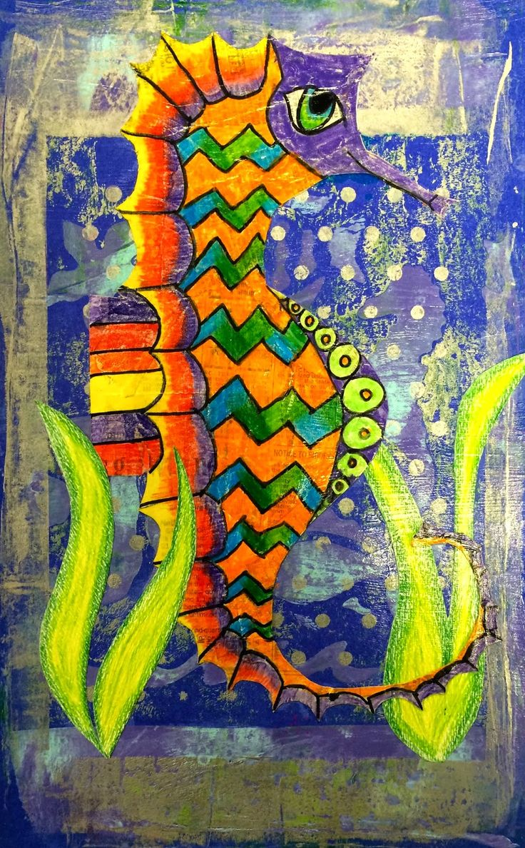 Exploring Art: Elementary Art: Mixed Media Sea Horse Gelli Prints