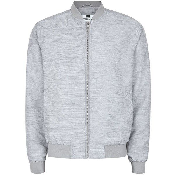 TOPMAN Grey Textured Bomber Jacket ($43) ❤ liked on Polyvore featuring men's fashion, men's clothing, men's outerwear, men's jackets, grey, mens grey bomber jacket, mens grey jacket, mens gray leather jacket and mens bomber jacket