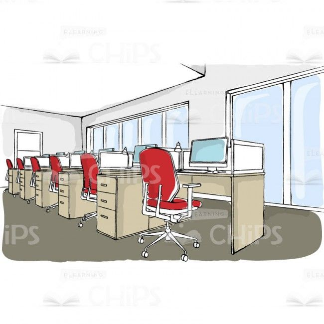 Office Interior With Workplaces Vector Background Illustration ELearning Location