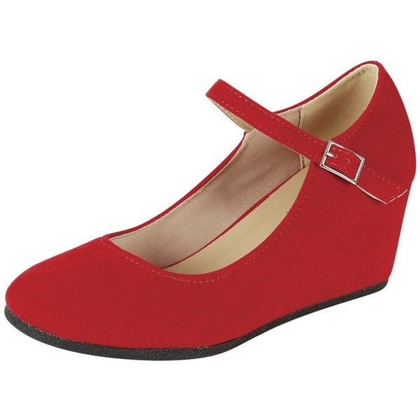 Amazon.com | Forever Link Women's Strappy Round Toe Mary Jane Wedge... ($27) ❤ liked on Polyvore featuring shoes, pumps, strap pumps, round toe pumps, wedge pumps, red wedge shoes and red pumps