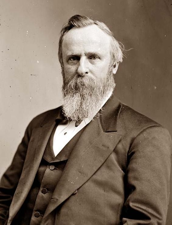 Black and white photo of Rutherford Hayes, President of the United States, between 1877 and Picture of American President Rutherford B Hayes.