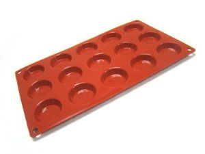 """GastroFlex Silicone Nonstick Round Tart Mold by Gobel by chefgadget. $19.95. Non-Stick and Flexible Silicone. Each impression is 1.75"""" diameter by 3/8"""" deep. Can be used in freezers to ovens between -58F and 485F. Never needs to be greased. Dishwasher Safe. The Gastro Flex round tart mold is a non stick and flexible pan made of food quality silicone that permits freezer to oven use between -58F and 485F. The Gastroflex is best used placed on a grill or perforate..."""