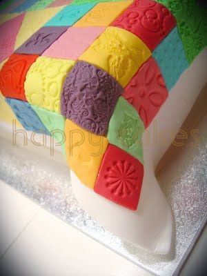 Happy Cakes: Patchwork Quilt Cake - perfect close up of patchwork pieces on top of white fondant